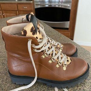 Steve Madden combat/hiking boots leopard print.